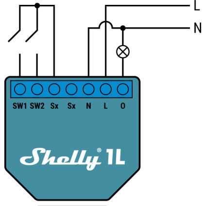 Shelly 1L 110-240V with Neutral Wiring Diagram