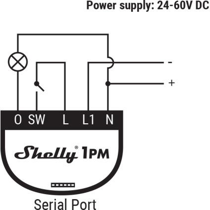 Shelly 1PM 24-60V DC Wiring Diagram