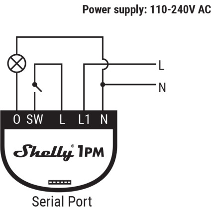 Shelly 1PM 110-240V AC Wiring Diagram