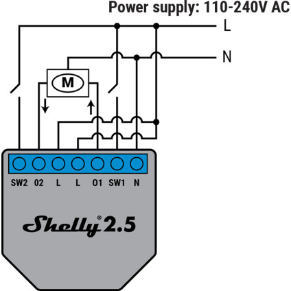 Shelly 2.5 110-240V AC with Motor Wiring Diagram
