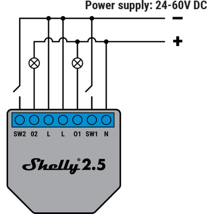 Shelly 2.5 24-60V DC Wiring Diagram