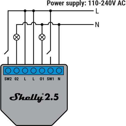 Shelly 2.5 110-240V AC Wiring Diagram