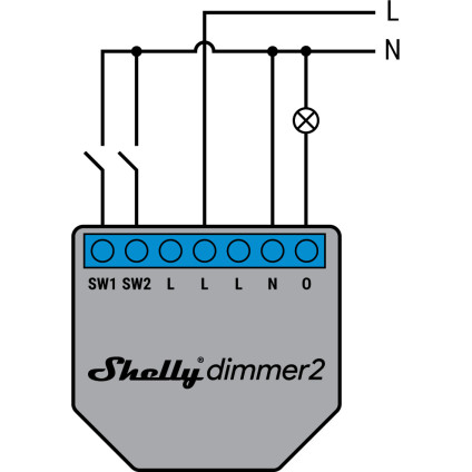 Shelly Dimmer 2 110-240V AC with Neutral and SW Connected to Neutral Wiring Diagram