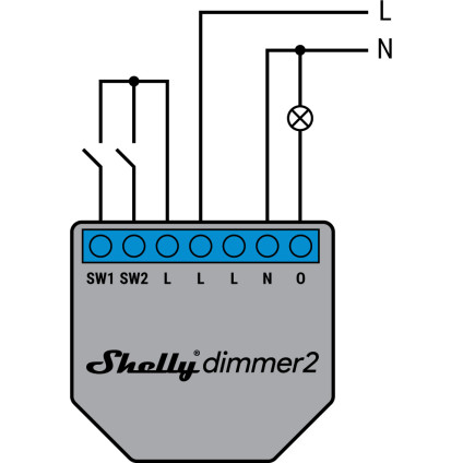 Shelly Dimmer 2 110-240V AC with Neutral Wiring Diagram