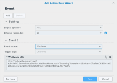 Synology Surveillance Station Add an Action Rule Wizard