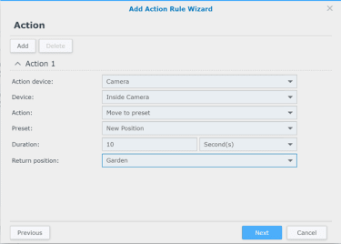 Synology Surveillance Station Action Rule 1